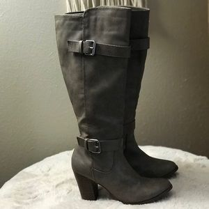 Knee High Taupe/Grey Wide Calf Boots